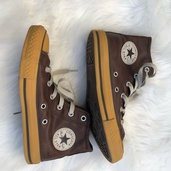 d784f2bcdc017d Converse Other - Converse Brown Leather Boys size 1